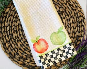 Decorative Dish Towel Apple Harvest - Original Watercolor Kitchen Towel Tea Towel Dish Towel - 16''x27''