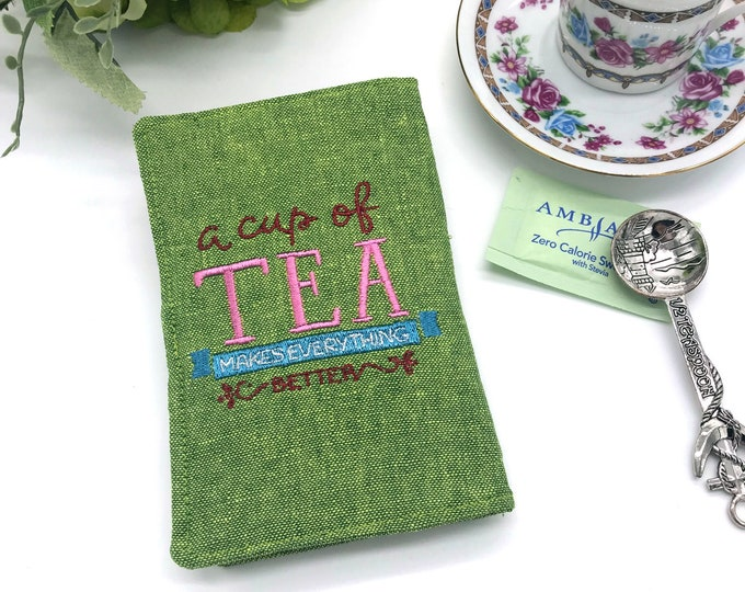 "Featured listing image: Tea wallet, Tea Holder, Tea Bag Wallet, Travel Tea bags carrier, ""A Cup of Tea Makes Everything Better"", Linen Tea Wallet"