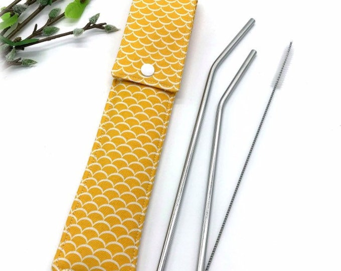 Featured listing image: Reusable Straw Case, Glass Straw Case, Padded Straw Sleeve, Quilted Straw Pouch, Steel Straw, Bamboo Straw