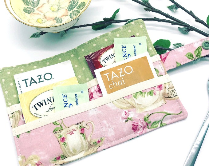 Featured listing image: Tea wallet, Tea Holder, Tea Bag Wallet, Travel Tea bags carrier