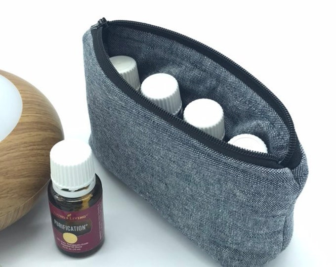 Featured listing image: Small Linen Essential Oil Pouch, Essential Oil Travel, 4 Bottle Pouch, 4 Bottle Bag, Essential Oil Bag, Linen Pouch