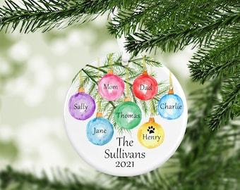 Family Name Ornament, Custom Ornament, Family Christmas Ornament,Personalized Christmas Ornament, Family Gift, Year Ornament, Pet Ornament