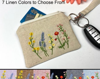 Linen Wristlet Credit Card Wallet, Coin Pouch, Boho Key Fob Pouch, Wild Flowers on Natural Linen Mother's Day Gift