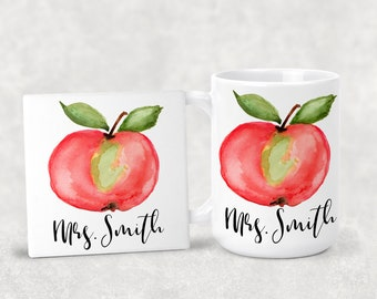 Personalized Original Design Apple Coffee Mug 15oz 11oz Matching Ceramic Coaster Personalized Gift Teacher Gift