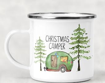 Christmas Camper, Happy Camper, Campfire Mug, personalized Glamping Mug, 12oz Camping Mug