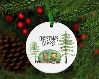 Camper Ornament, Happy Camper Christmas Ornament, Custom Ornament, Christmas Camper, Christmas Ornament, Family Gift, Year Ornament