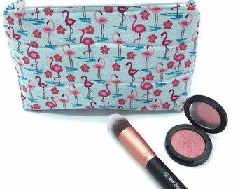 Cosmetic Pouch, Travel Toiletry Bag, Cosmetic Bag, Makeup Bag, Pouch Bag - Flamingos