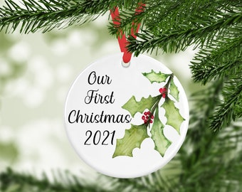 2021 Year Ornament, Our First Christmas Ornament, Custom Ornament, Personalized Christmas Ornament, Family Gift, Year Ornament