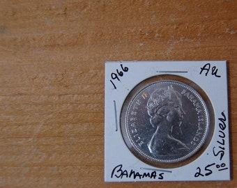 25 Cents Queen Elizabeth Ii 1966 Bahamas Central America 57h