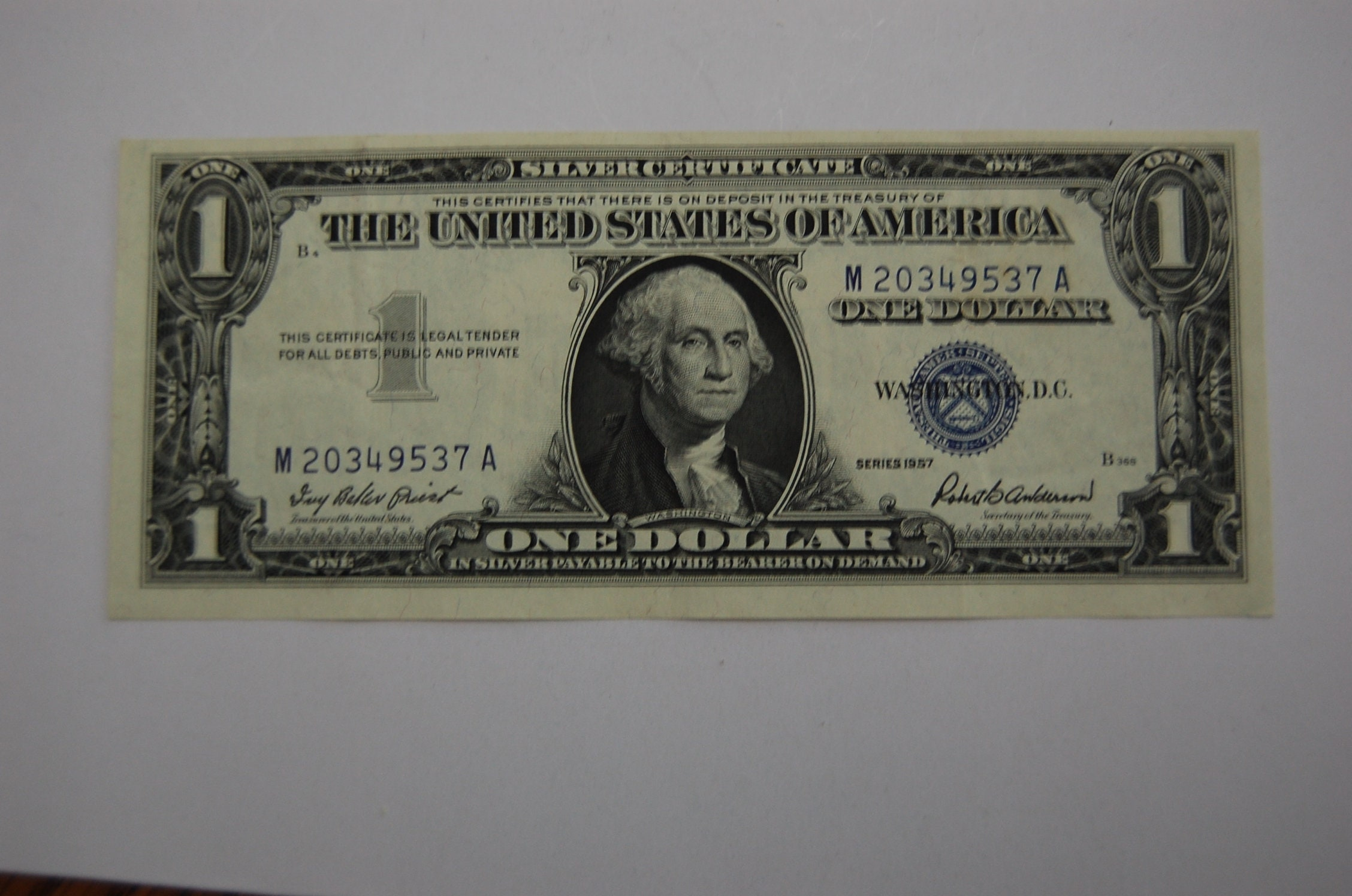 One Dollar Silver Certificate 1957 Blue Seal Not Etsy