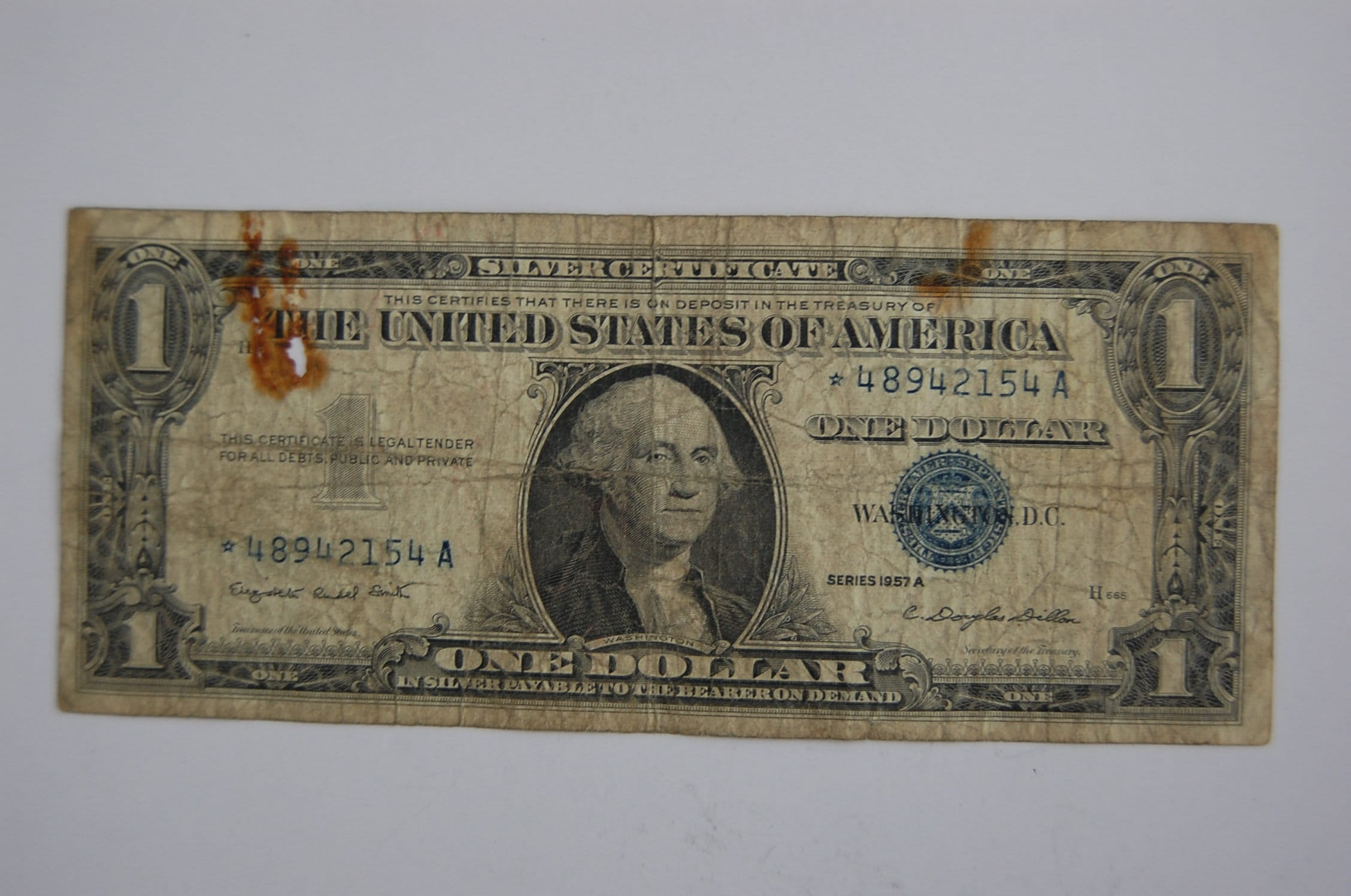 One Dollar Silver Certificate 1957a Blue Seal Circulated Found