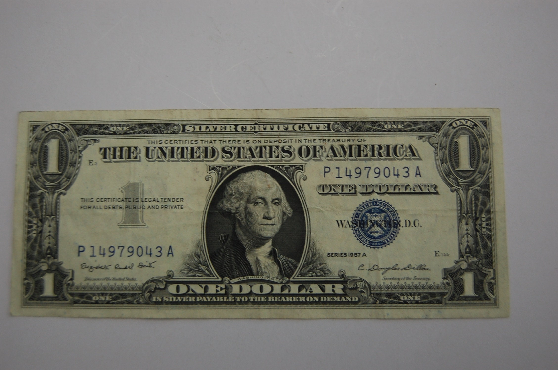 One Dollar Silver Certificate 1957a Blue Seal Etsy