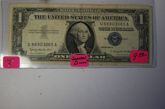 One Dollar Silver Certificate-1957B Blue Seal circulated