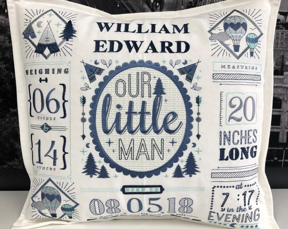 Personalized and Embroidered Baby Announcement pillow -  Handmade, fully lined and includes insert