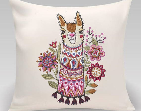 Cute llama pillow- Embroidered Decorative pillow- 16 x 16 with feather insert