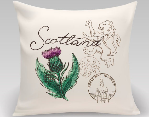 Embroidered icons of Scotland Decorative Pillow- Handmade and fully lined with insert- Gift for home