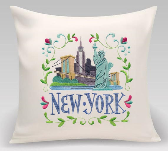 New York - Embroidered decorative pillow - Home decor - Home and Living