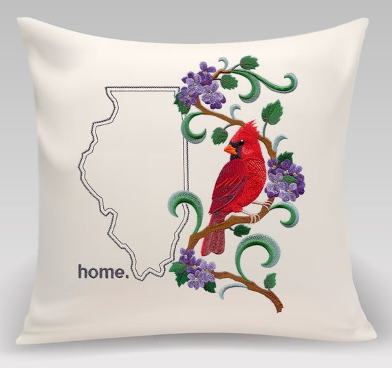 Illinois embroidered Cardinal and Violets Medley-Home decor-Housewarming gift - Wedding gift