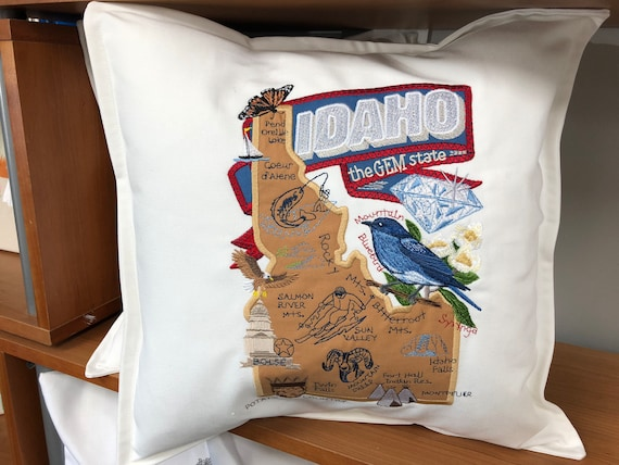 Idaho Pillow- Embroidered and Appliqued throw pillow-USA state- Housewarming gift-Home decor-Wedding gift