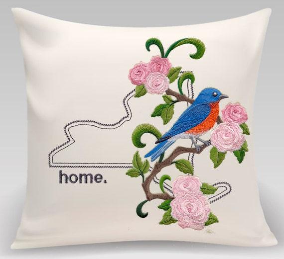 New York embroidered  Bluebird and Rose Medley-Handmade Pillow-Home Decor-Housewarming gift - Wedding gift