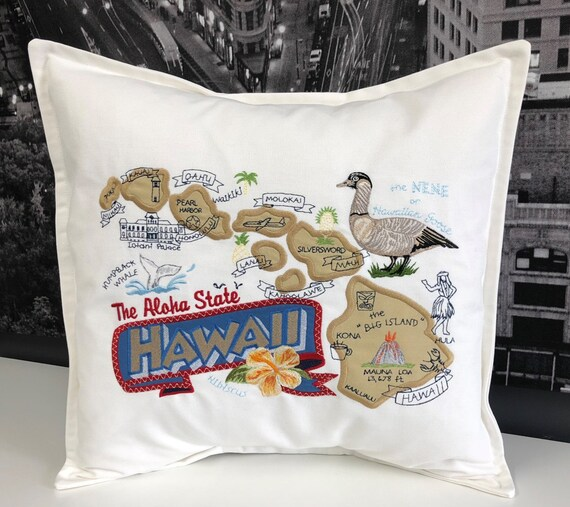 Hawaii Pillow- Embroidered and Appliqued throw pillow-USA State - Home decor- Housewarming gift- Wedding gift