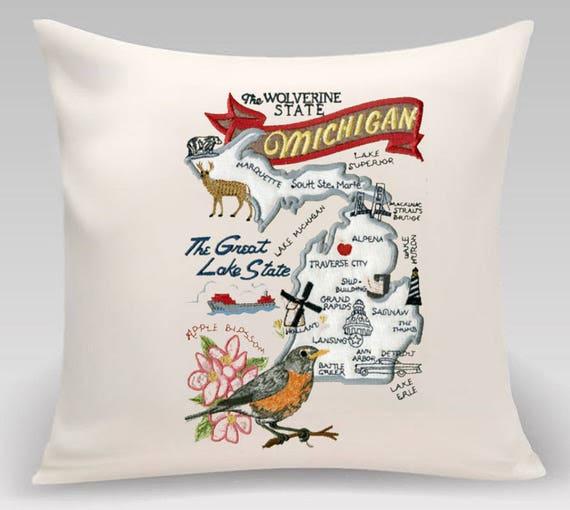 Michigan Pillow- Custom Embroidery