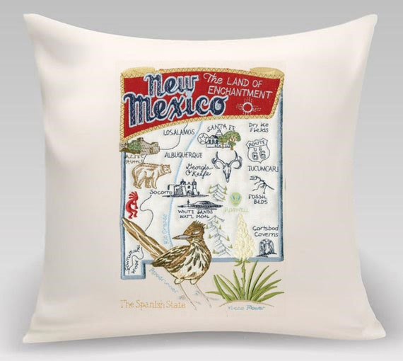 New Mexico - Embroidered pillow with iconic landmarks and the state bird and flower - Wedding Gift - Housewarming Gift- Realtor Gift