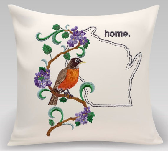Wisconsin embroidered Robin and Wood Violet Medley-Handmade pillow- Home decor - Housewarming gift - Wedding gift