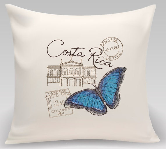 Costa Rica embroidered pillow