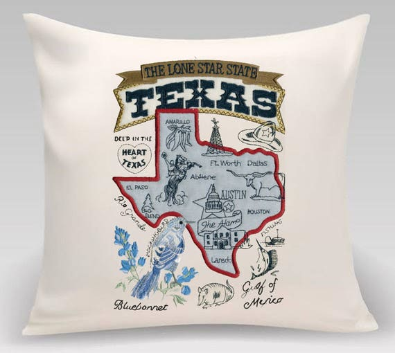 Embroidered and Appliqued throw pillow-Throw pillow cover-State of Texas -Decorative pillow-Home Decor