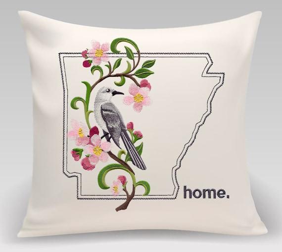 Arkansas Embroidered Mockingbird And Apple Blossom