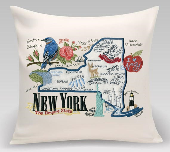 New York- Embroidered pillow featuring iconic landmarks and the state bird and flower- Princeton Threads