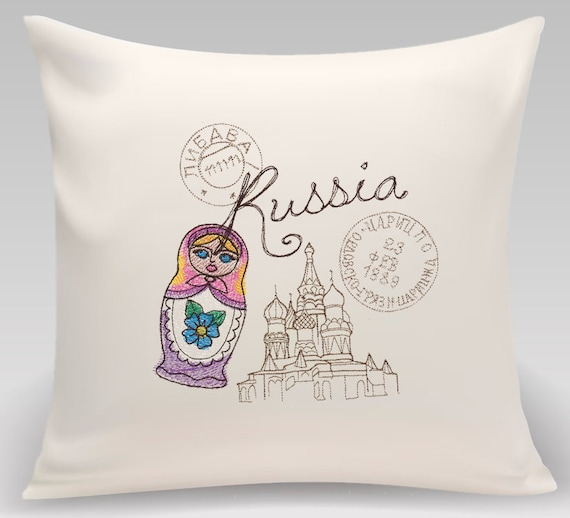Russia - Embroidered decorative pillow - Home decor - Home and Living