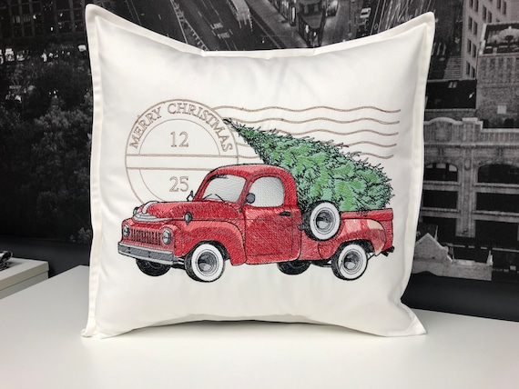 Holiday decor - Embroidered retro truck - Modern holiday decor - home decor - Christmas decor - Christmas Truck