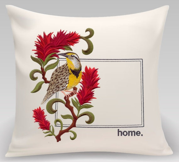 Wyoming EmbroideredWestern Meadowlark and Indian Paintbrush Medley-Home decor- Housewarming gift - Wedding gift