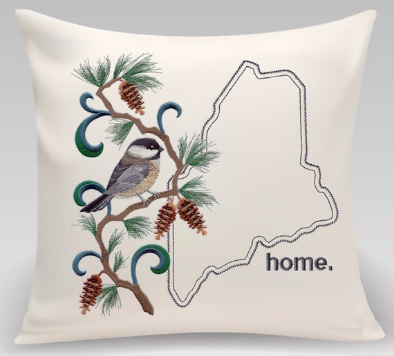 Maine - Embroidered Chickadee and Pine Cone medley - Housewarming gift - Wedding gift