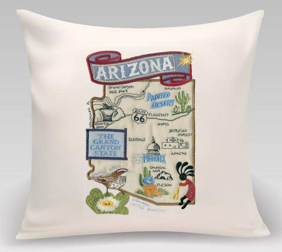 Arizona pillow- State pillow-Embroidered and Appliqued throw pillow- Decorative pillow-Wedding gift-Housewarming gift