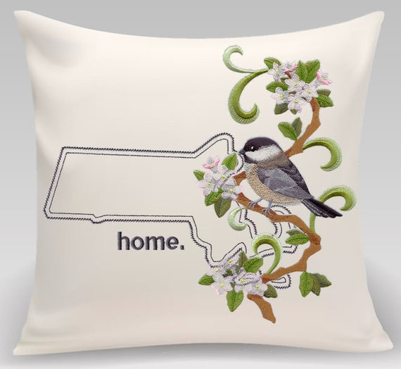 Massachusetts pillow -Custom Embroidered