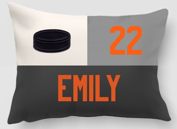 Ice Hockey - Embroidered and Applique twill personalized sports pillow- Team gift - Home decor