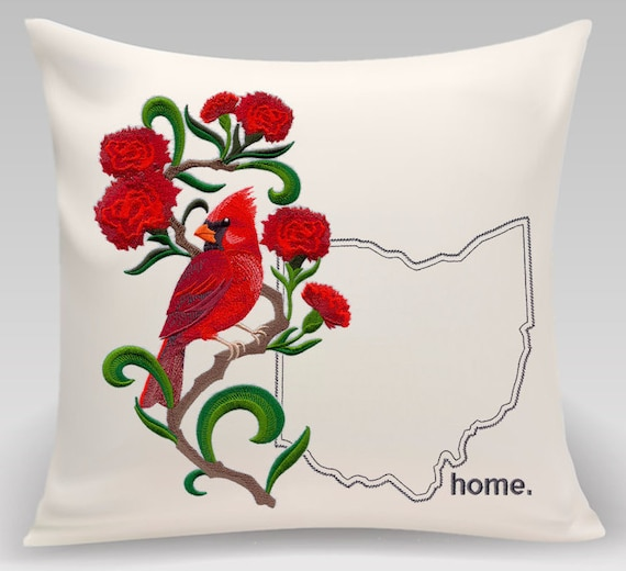 Ohio embroidered  Cardinal and Scarlet Carnation Medley-Handmade pillow-Home Decor-Housewarming gift - Wedding gift