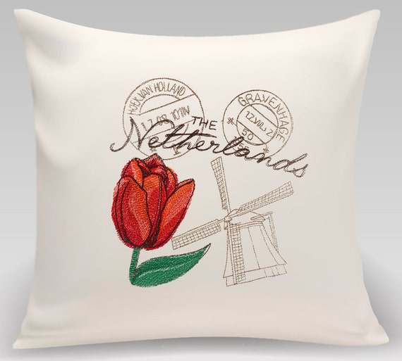 Netherlands--Embroidered throw pillow-Decorative pillow - Home Decor - Home and Living