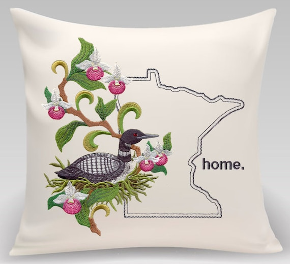 Minnesota embroidered pillow- Common Loon and Showy Lady- State pillow-Throw pillow cover--Decorative pillow-Princeton Threads