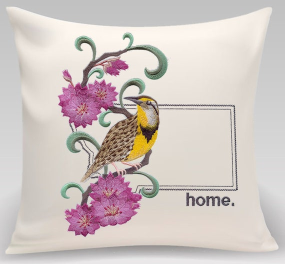 Embroidered Montana pillow featuring the State Bird and Flower - Personalized Gift - Handmade and includes insert