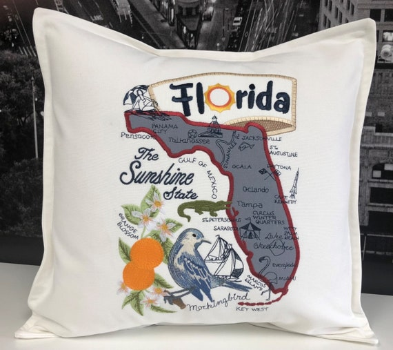 Florida Pillow- Embroidered and Appliqued throw pillow- USA State- Decorative pillow-Home Decor Wedding gift - Housewarming gift