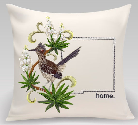 New Mexico Embroidered New Mexico Roadrunner and Yucca Flower Medley-Handmade item-Princeton Threads- Housewarming pillow-Wedding gift