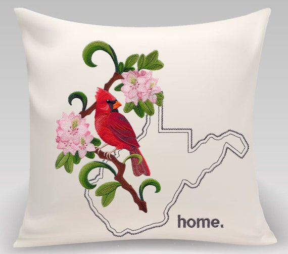 West Virginia embroidered decorative pillow -Cardinal and Rhododendron Medley-Handmade pillow-Home decor-Princeton Threads