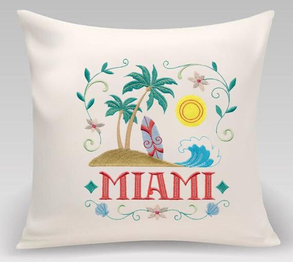 Embroidered pillow- Wanderlust-Miami- Decorative pillow-Home decor-Bedroom Decor-Princeton Threads