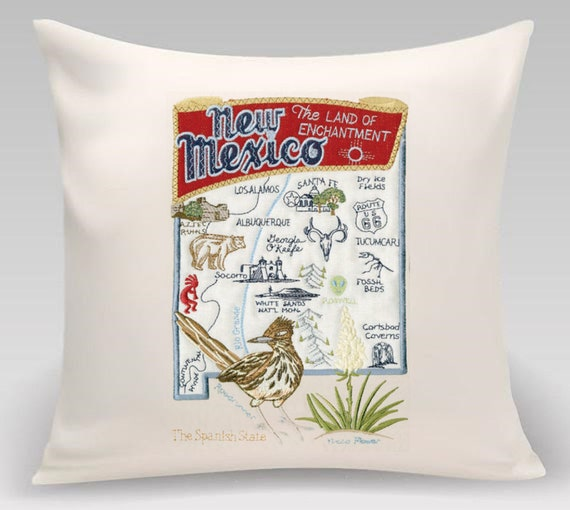 New Mexico - Embroidered pillow featuring iconic landmarks with the state bird and flower - Princeton Threads