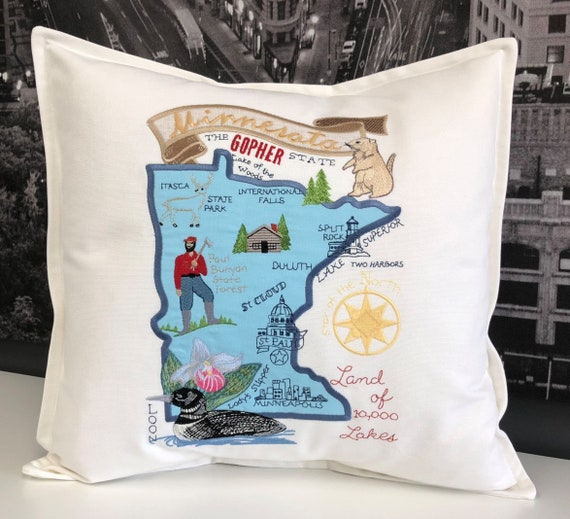 Minnesota Pillow - Embroidered Landmarks - Handmade- fully lined with insert