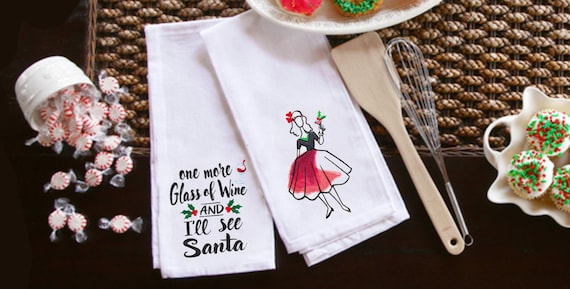 Set of two - Everybody loves Santa and wine! Embroidered tea towels - holiday decor - Christmas decor- Housewarming gift